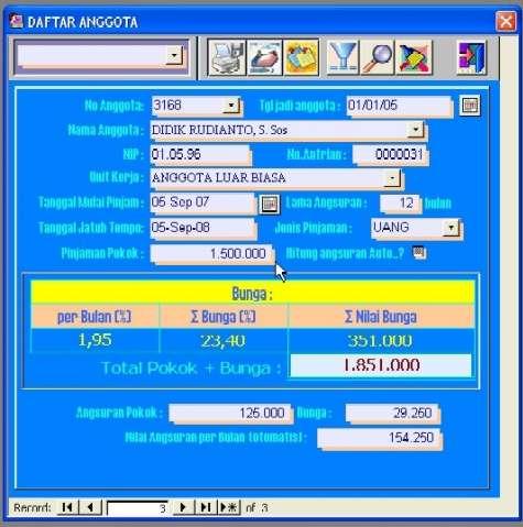 Gambar 1.  Form Database Koperasi Simpan Pinjam